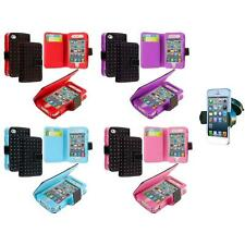 For iPhone 4 4G 4S Color Wallet Leather Folio Pouch Case Cover+Car Mount