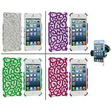 For iPhone 5 5S Electroplated Floral Flower Luxury Case Cover+Windshield Mount