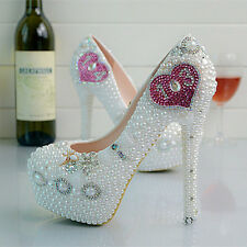 Pearl Pink White Love Heart Wedding Ball Club Shoe High Heels Party C