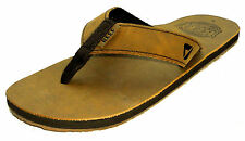 Reef Mens Leather 'Smoothy' Flip Flops - Bronze Brown / Tan - Flexible Strap