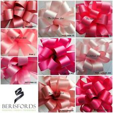 BERISFORDS DOUBLE SATIN RIBBON ASST SHADES OF PINK 9 SHADES, 8 WIDTHS 3 LENGTHS