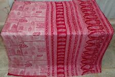 AU Pure silk Vintage Sari DEAL CHEAP 4y Su 1579 Qy Off-white Red USA #ABE61