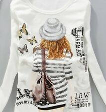 "T-Shirt ladies Casual Blouse ""Cartoon"" Long sleeve Size M white, grey"