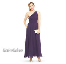Women's Tevolio One-Shoulder Chiffon Maxi Dress ~Plum/Fully Lined~Size 6~NWT