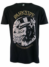 TOP HAT WOLF GENUINE DARKSIDE MENS PRINTED AND EMBROIDERED T SHIRT