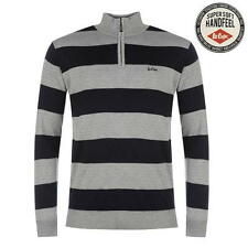 Lee Cooper Mens Quarter Zip Knit Stripe Jumper Grey/Navy New With Tags