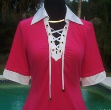 Cache $88 LACE-UP FRONT RUCHED BUST STRETCH Top NWT XS/S/M/L RAYON SPANDEX