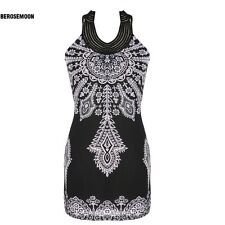 Exotic Totem Vintage Stand Collar Sleeveless Mini Dress B0N