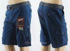 Plugg Belted Cargo Shorts Mens French Blue Lightweight 8 Pocket