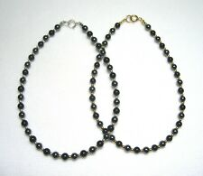 Lyns Jewelry Black Onyx and Hematite Anklet Silver or Gold