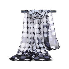 Women's Polka Dots Hijab Scarf Silky-Chiffon Beach Head Shawl Scarves