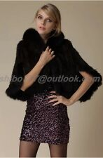 Hand-Made Knitt Real Mink Fur Coat Jacket Fox fur collar Cape Stole Shawl Scarf