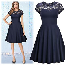Women's Vintage 1950's Cocktail Party Ball Gown Floral Lace Casual Pleated Dress