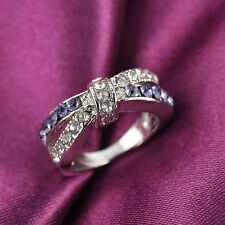 New Criss Cross Purple Amethyst Rings Jewelry 6-10 Size Ring White Gold Filled