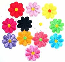 Flower Daisy Iron On Patches- Garden Plant Bage Embroidered Appliques Crafts