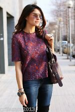 ZARA PURPLE/RED LACE TOP WITH ASYMMETRIC HEM BLOGGERS REF. 2363/890 SIZE M