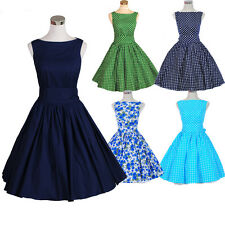 Womens Vintage Audrey Hepburn Swing Dress 50s 60s Retro Rockabilly Party Dress