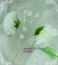 Barefoot Sandals Ivory Pearl & Silver webbed V Style Bridal Foot Jewellery 1 pr
