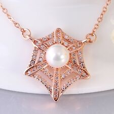 Women Lady 18K Gold Plated Swarovski Crystal Shiny Pearl Chain Necklace Pendant