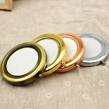 1 Kit 57.1mm Blank Round Metal Compact Mirror Makeup Cases 3 Colour DIY Mirror