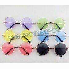 Man/Woman Round Sunglasses Shades Hippie 60s 70s Retro Circle Metal Frame Large