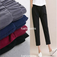 S-5XL Womens Cotton Linen Fashion Trousers Loose Harem Casual Solid Long Pants
