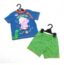 Peppa Pig Baby Boys Blue George Mr Dino Dinosaur Short Pyjamas Sleepwear 18/24
