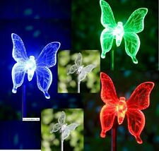 Solar Powered Dragonfly Butterfly Garden Decor Stake Color Changing Yard LED