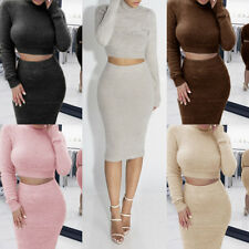 Womens 2pcs Set Sweater Bodycon Bandage Crop Top Skirt Clubwear Party Mini Dress