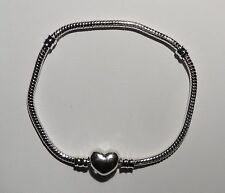 3 lengths - Silver plated European snake chain Bracelet with a 'HEART' clasp