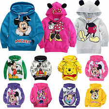 Kids Boys Girls Mickey Minnie Long Sleeve Hoodies T-Shirt Hooded Sweatshirt Coat