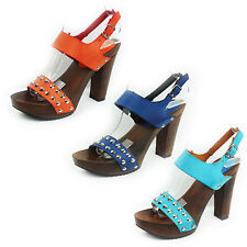 WOMENS LADIES STRAPPY PLATFORM CHUNKY HIGH BLOCK HEEL SANDALS SHOES SIZE 3-8