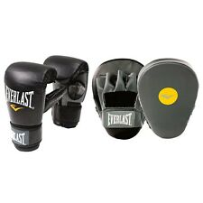 Everlast BOXING GLOVE & MITT COMBO, BLACK/GREY - Small/Medium Or Large/X Large