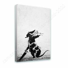 Alonline Art - READY TO HANG CANVAS Rat With Dollar Eyes And Jigsaw Banksy