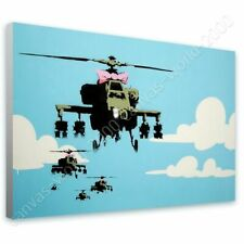 Alonline Art - READY TO HANG CANVAS Helicopter Apache Banksy Oil Painting Print