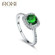18K White Gold Plated Emerald Crystal Ring Women Wedding Fashion Jewelry Gift