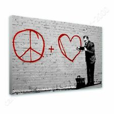 Alonline Art - READY TO HANG CANVAS Peace Love Doctor Banksy Oil Painting Print