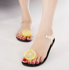 Sweet Womens Flat Heels Transparent Jelly Shoes Lemon new Mules Summer Sandals