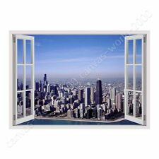 READY TO HANG CANVAS Chicagos Skyline Fake 3D Window Oil Painting Print