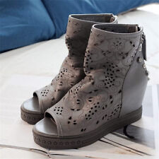 Womens Real Cow Leather Sport Sandals Open Toe Platform Wedge Ankle Boots Summer