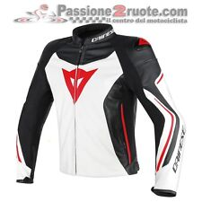 Motorcycle jacket in skin Dainese Assen white black rosso G27