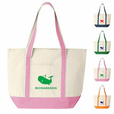 Custom Canvas Boat Tote Bag-Whale Design-Personalized with Your Name