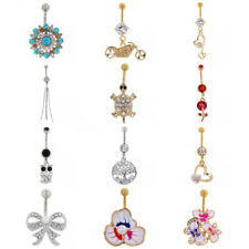 Belly Button Ring Crystal Rhinestone Flower Navel Body Piercing Jewelry Bar