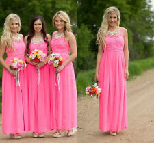 Fuchsia Long Country Bridesmaid Dresses Chiffon Evening Formal Party Gowns HD194