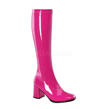 PLEASER FUNTASMA GOGO-300 HOT PINK PATENT 70'S DISCO KNEE HIGH BOOTS UK 3-13