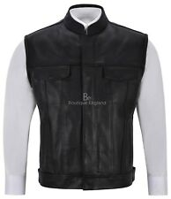 Men's Anarchy Black Real Leather Motorcycle Biker Waistcoat Western Vest Jacket