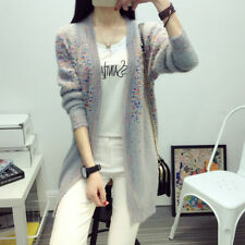 Lady Loose Mohair Knit Cardigan Sweater Long Outwear Jacket Coat Casual Top Soft