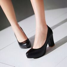 New Classic Womens Lady Block high Heels Pumps Platform Simple Court party Shoes