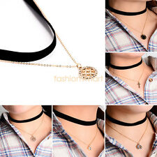 Gothic Punk Velvet Choker Necklace Chain Pendant Ladies Girl Goth Tattoo Jewelry