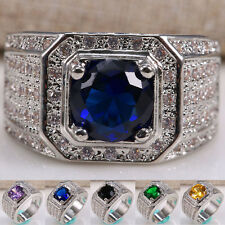925 Silver Natural 2.8CT Tanzanite Emerald Amethyst  Gem Ring Women Men Size6-12